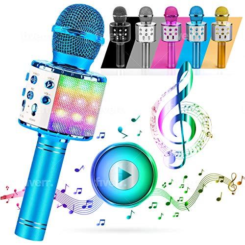 ATLAS Microfono Karaoke, Wireless Bluetooth USB LED Flash Microfono Portatile per promozione regalo Altoparlante wireless per feste famiglia, Anche per far giocare i bambini, microfono bambini. (BLU)