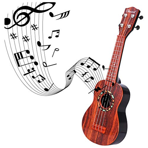 Dacawin- 21Inches Ukulele Toy for Kids 4 Strings Mini Guitar Musical Instruments,Best Choice for Christmas, Birthday Gift and for Party( Color: Imitation Rosewood)