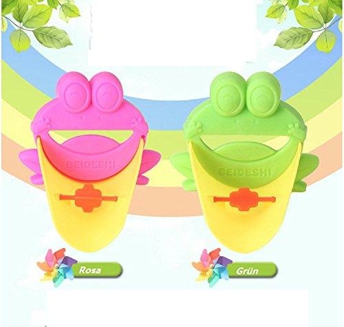 2 Stück Wasserhahn Verlängerung Extender für Kinder Baby Hände waschen Badezimmer Cartoon Frosch (Grün & Rosa)