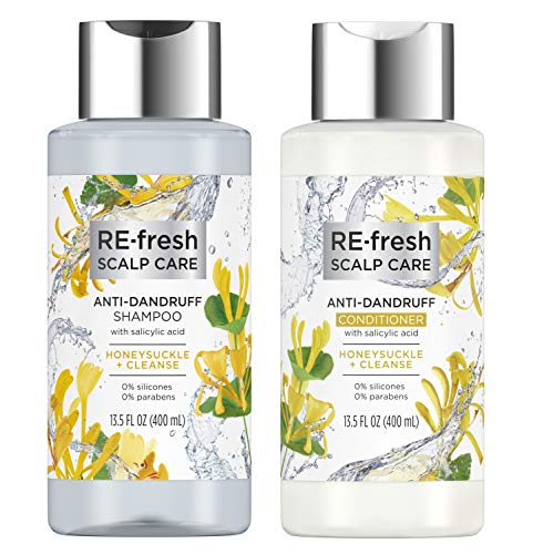 RE-fresh Scalp Care - Anti-Dandruff Shampoo and Conditioner Set - Honeysucle + Cleanse (13.5 oz each)