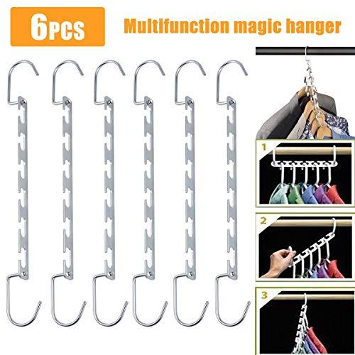 Kleiderbügel Organizer Multi Function Metal Kleiderbügel platzsparende Wandschrank Magic Hanger Rack für Jacken Mantel Pullover Hosen T-Shirts (Size : 6PCS)