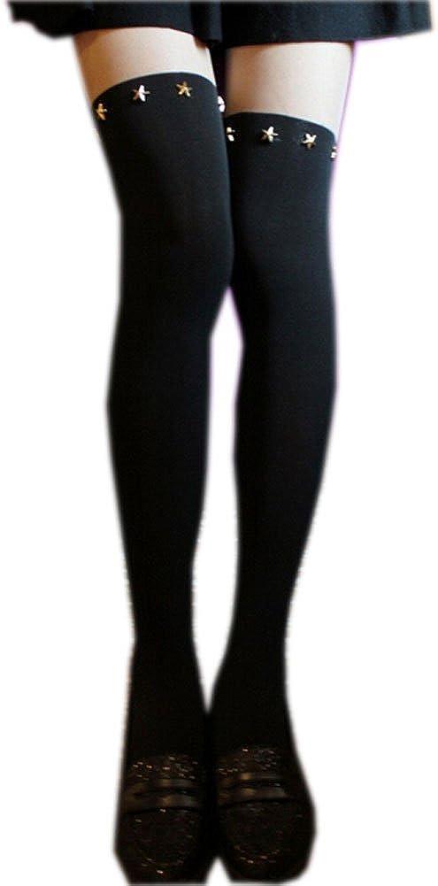 [BLACK] Women Girls Five-Points Stars Sexy Panting Stocking Tights