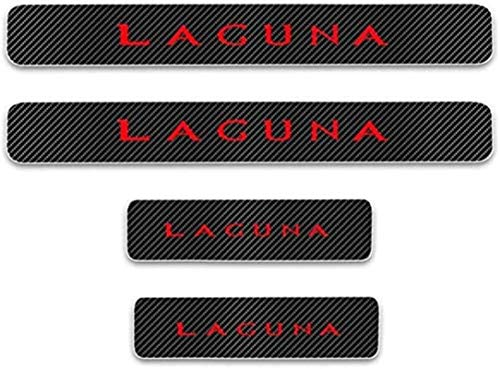Anti-Kratz-Platte für Autoschwelle für Passend für 4 Stück Externes Carbon-Faser-Leder-Auto Kick-Platten Pedal for RENAULT LAGUNA, Einstieg Willkommen Pedal-Tritt Scuff Threshold Bar Prot.