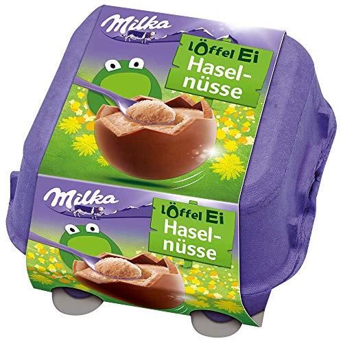 Löffel-Ei Haselnusscrème 1 x 136g, Schokoeier aus Alpenmilch Schokolade mit Füllung zum Löffeln