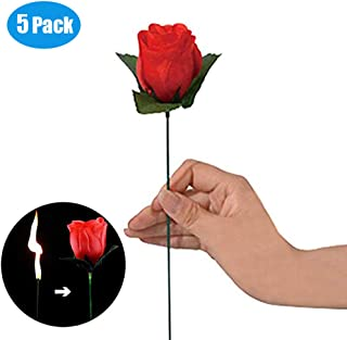 Babyrise 5 Pcs Magic Props Torch Fire to Rose Flower Magic Tricks Stage Magic Toys Valentine's Day Magic Props Gift Your Lover
