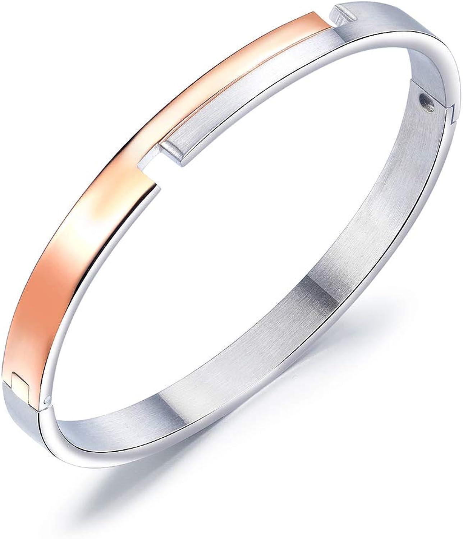 Bracelet Fashion Titanium Steel Couple Bracelet Intercolor Geometric Cut Stainless Steel Bracelet