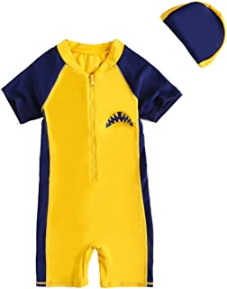 Zilee Boys Girls Swimsuit Swimwear with Cap - 2 Pieces Kids Swimming Beach Costume Wetsuit Rash Guards Diving Suits Short Sleeve Yellow,Blue