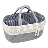Baby Diaper Caddy Organizer-Rope Diaper Caddy Cotton Rope Diaper Storage Basket Portable diaper Caddy Basket Rope cotton Diaper Nursery Storage Bin for Boys & Girls Large Tote Bag Baby Shower Basket