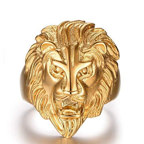 SGRMYS Anillo de Acero Inoxidable, Elegante Anillo de Cabeza de león Chapado en Oro para Hombre, Estilo Vintage 11 Oro