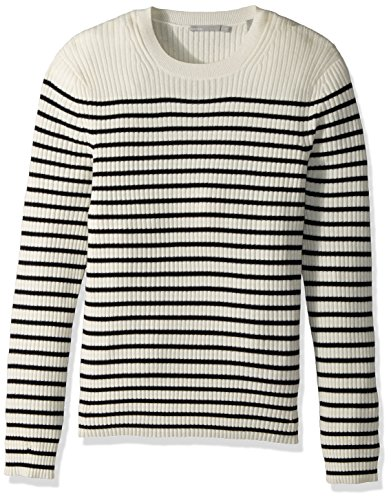 Vince Men's Bretton Stripe Cashmere Crew Sweater, Breeze/Coastal, L