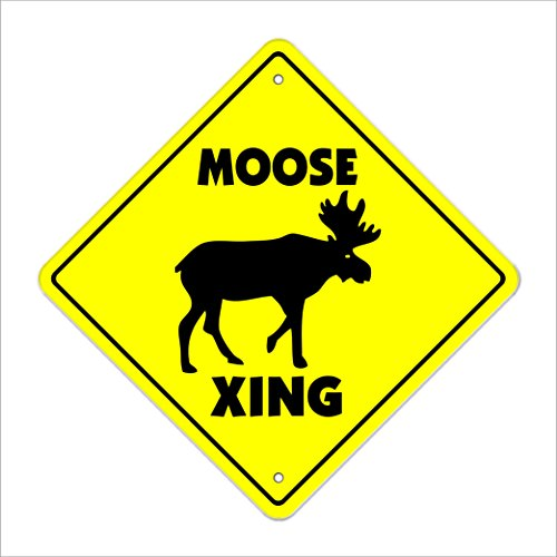 """Moose Crossing Sign Zone Xing   Indoor/Outdoor   12"""" Tall Canadian Canada Animal"""