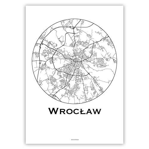 Plakat Breslau Wroclaw Polen Minimalist Map - Poster, City Map, Dekoration, Geschenk