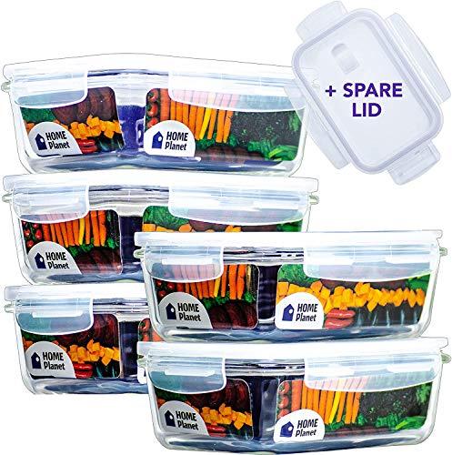 Home Planet® Recipientes de Vidriopara Alimentoscon 1 Compartimento (840ml X 5) | Libre de BPA con Cierre a presión | para microondas, Horno, lavavajilla | Ideal como Porta Almuerzo/colación/Bento