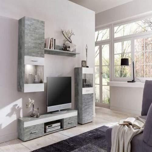 WILMES 70015-57 0 75 Wohnwand Holzwerkstoff, weiß, 33 x 210 x 160 cm - 2