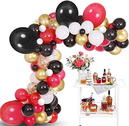Black White Red Gold Balloon Garland Kit, 110 Pack Balloons Arch Kit Black Red Party Balloons Ideal for Casino Card Night Poker Las Vegas Party Decorations