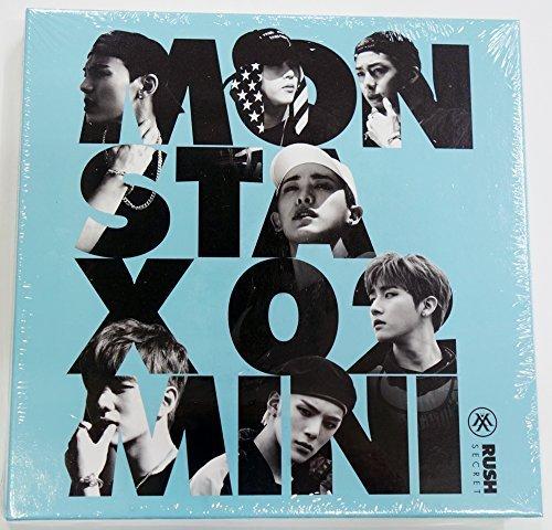 Monsta X Rush – 2. Mini-Geheimversion, gefaltetes Poster, Mini-Postkarte, Aufkleber und Fotokarte
