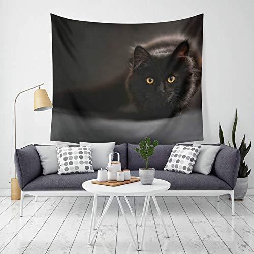 ANAZOZ Tapiz Indio Tela Poliéster Tapiz Indio Gato Negro Style D Tapiz 200x150CM