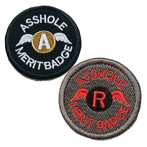 Bundle 2piezas Set Asshole Merit Badge Militar Táctica moral–Parches–2.48