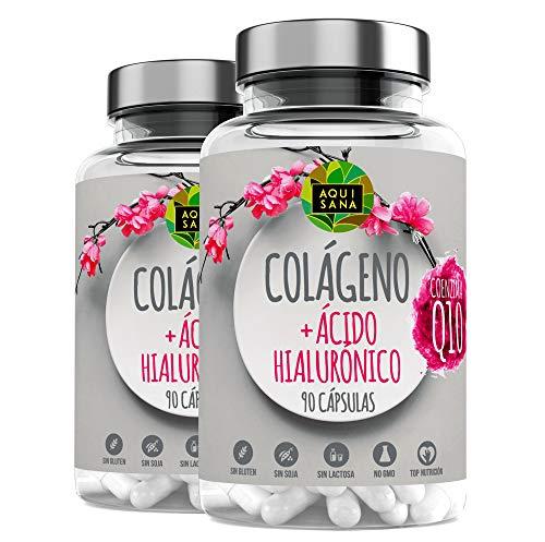 Colágeno Marino Con Ácido Hialurónico |Colágeno Con Vitamina C + Q10 |Suplemento Para Una Piel Radiante y Un Buen Mantenimiento las Articulaciones| 180 Cápsulas – Aquisana