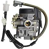 GOOFIT PD18 Carburador de 18 mm Reemplazo de la bomba del acelerador para Kymco Agility 4 tiempos GY6 49cc 50cc 139qmb 139qmA Ciclomotores Motor ATV Scooter