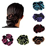 Ever Fairy 6Pcs Women Hair Scrunchies Floral Print Cotton Headbands for Sport or Daily Wear (6 Color pack F)