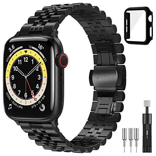 Diruite für Apple Watch 6/5/4/SE 44mm Armband+Panzerglas Schutzhülle,Neues Upgrade Galvanisieren Edelstahl Metall Mit Doppelt Faltschließe für iWatch 6/5/4/SE 44-Schwarz