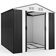 Deuba Garden Metal Tool Shed Size and Colour Choice Galvanised Green Anthracite Brown Roofed Outdoor...