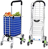 Jukkre Grocery Laundry Utility Foldable Shopping Cart Trolley, Aluminum Alloy 8-Wheel Stair Climbing