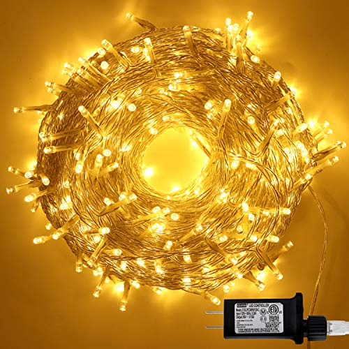 400-Count LED Christmas Light (8 Modes), 140.7 ft Clear Wire LED Christmas String Lights (Single Stranded), Warm White Light for Indoor or Outdoor Christmas Decorations