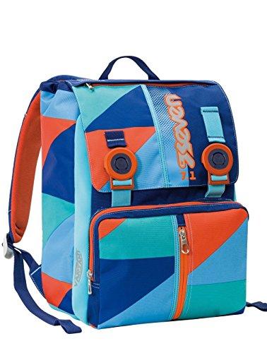 Zaino scuola sdoppiabile SEVEN - PSYCHEDELIC BOY - Arancione Azzurro estensibile con VARIANT SYSTEM - 28 LT - elementari e medie inserti rifrangenti