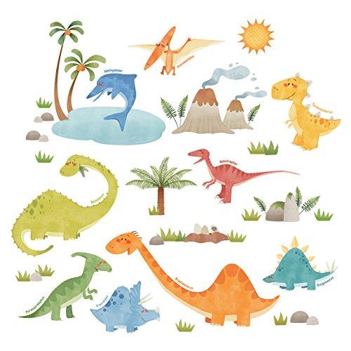 DECOWALL DS-8019 Dinosaurier Tiere Wandtattoo Wandsticker Wandaufkleber Wanddeko für Wohnzimmer Schlafzimmer Kinderzimmer (Klein)