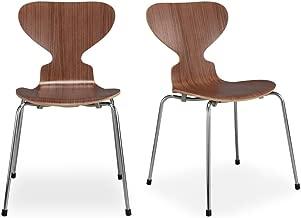 Kardiel 2 Piece Soda Modern Dining Chair Walnut Wood