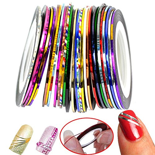 32pcs Autocollants pour Ongles DIY Colorés Stripe Line Nail Strip Ruban Décor Sticker Decal Bande Nail Art