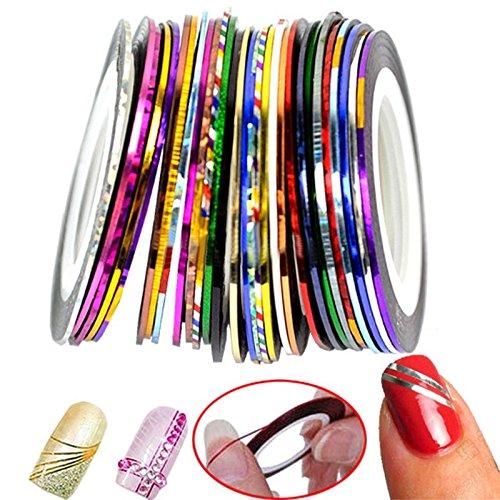 PINCHU 32 Couleurs Nail Sticker Rolls Striping Tape Line Nail Art Gel UV Conseils DIY KIT (32 Volumes)