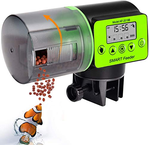AquaticHI Digital Automatic Fish Feeder for Aquariums/Reptile Tank/Pond, Programmable for up to Four Feedings a Day, Use for Turtles, Saltwater/Tropical Fish, Freshwater Fish Like Gold Fish