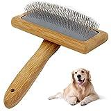 Slicker Dog Brush Grooming,Pet Professional Shedding Grooming Tools Cat Long Pin Brush with Non-slip Handle