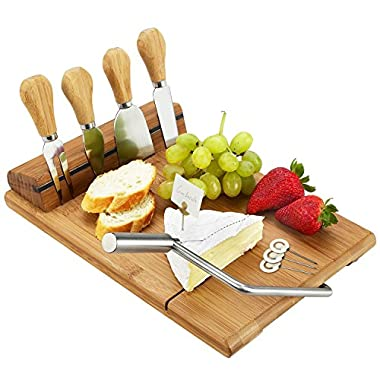 Picnic at Ascot Bamboo Board with Wire Cheese Slicer & 4 Stainless Steel Tools & Cheese Markers - 12  x 8 - Designed & Quality checked in the USA