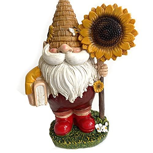 Dongua Garden Gnomes, Resin Mini Gnomes, Miniature Elf, Micro Landscape Figurine, Sunflower Gnome Statue for Garden Bonsai Decor(A)
