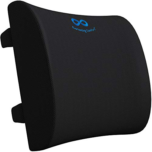 Everlasting Comfort Lumbar Support Pillow for Office Chair - Pure Memory Foam Back Cushion for Car (Black)