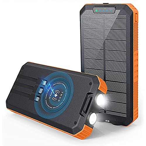 Solar Power Bank 30000 mAh,Wireless Portable Solar Power Bank Fast Charge Solar Phone Charger Power Bank with 3 Cables & LED Flashlights(Waterproof, Dustproof) Compatible with iOS & Android