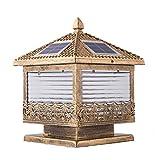 LED Solar Lantaarnpaal Lantaarn IP65 Waterdicht Messing Glazen Kolomlamp Creatief Vierkant Landschap Tuin Park Exterieur Pilaarverlichting Weerbestendig Voor gebruik buitenshuis Buitenverlichting (Ma