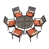 PURPLE LEAF 7 Pieces Patio Dining Set Cast Aluminum Patio Furniture with 6 Armchairs and 47' Round Table, Cushion and Sunbrella Pillow Included, for Lawn Yard Garden Outdoor Dining Set, Brick Red