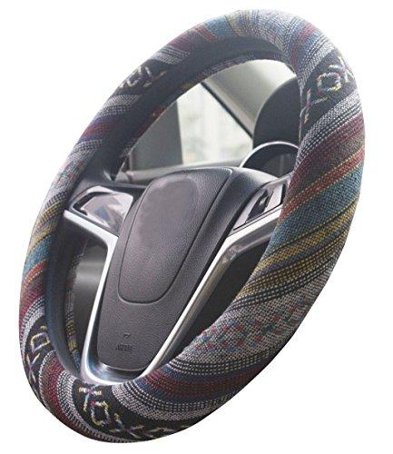 Istn 2018 38 cm Large Ethnic Style Grueso paño de lino Cubierta del volante automotriz antideslizante y absorción del sudor Auto Car Wrap Cover (E, 15.25 '' - 16 '')