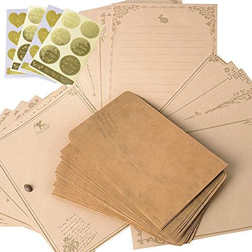 レターセット 封筒 20枚 便箋 24枚 シール24枚 アンティーク おしゃれ (レトロ封筒20枚 便箋24枚)