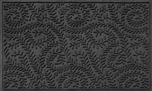 Bungalow Flooring Waterhog Door Mat, 3' x 5' Made in USA, Durable and Decorative Floor Covering, Skid Resistant, Indoor/Outdoor, Water-Trapping, Boxwood Collection, Charcoal