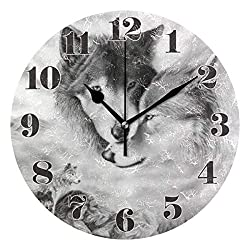 senya Wall Clock Silent Non Ticking, Round Wolf Animal Art Clock for Home Bedroom Office Easy to Read