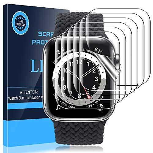 LK 6 Stück Schutzfolie kompatibel mit Apple Watch Series 6/SE/Series 5/Series 4 44mm und Series 3/Series 2/Series 1 42mm Folie, Modellnummer:LK-44MM-1 Kompatibel Blasenfreie Weich TPU Displayschutz