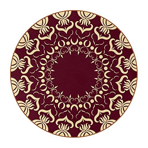 Juego de 6 posavasos redondos de piel de microfibra para bebidas, estilo rústico, decoración del hogar, creatividad, para cocina, sala de estar, estilo árabe, patrón árabe, 4 D4.7.6 cm