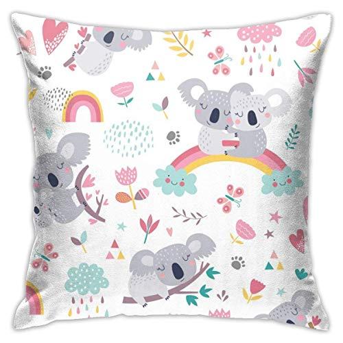 Lovely Koala Decorative Throw Pillow Cover Hidden Zipper Closure Cushion Case for Home Sofa Bedroom Car Chair House Party Indoor Outdoor 18 X 18 Inch 45 X 45 cm
