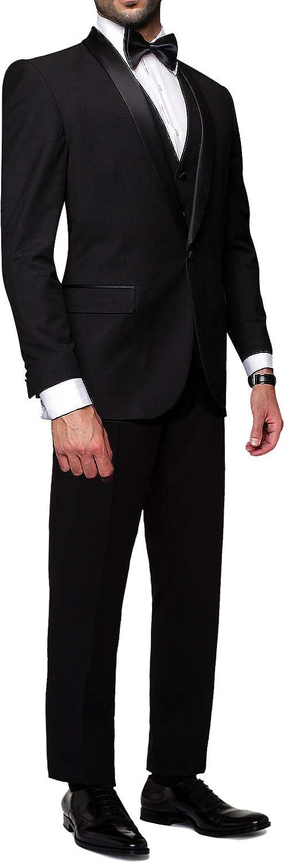 Statement Tux-SH Black 3PC Men's Suit. Tuxedo